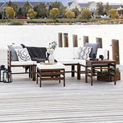 W. Trends 7-Pc. Patio Acacia Chat Set - Dark Brown