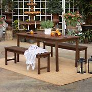 W. Trends 3-Pc. Patio Acacia Dining Set - Dark Brown