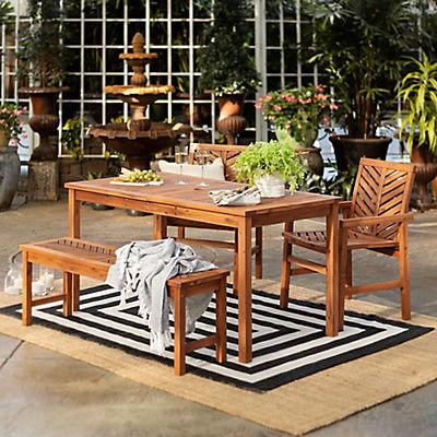 W Trends 4 Pc Patio Acacia Dining Set, Bjs Patio Furniture