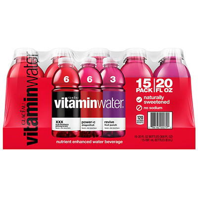 Glaceau Assorted Flavor Vitamin Water, 15 pk./12 oz.