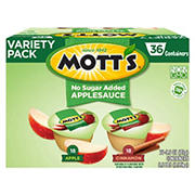 Mott's Applesauce No Sugar Added Variety Pack, 36 ct.