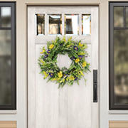 """Puleo International 24"""" Artificial Spring Mixed Floral Wreath"""