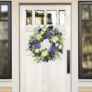 """Puleo International 24"""" Artificial White Rose and Lavender Floral Spring Wreath"""