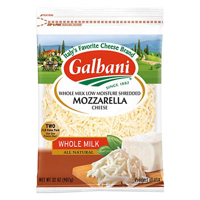 Galbani Whole Milk Shredded Mozzarella, 2 pk./2 lbs.