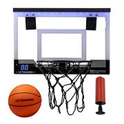 "Triumph 18"" LED Light-Up Over the Door Mini Basketball Hoop Set"