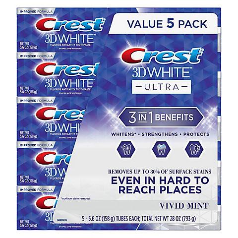 Crest 3d White Ultra Whitening Toothpaste 5 Pk Bjs Wholesale Club