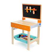 Small Foot Wooden Toys 2-In-1 Children's Workbench with Drawing Table