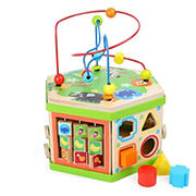 "Small Foot Wooden Toys Safari Theme 12"" Activity Cube Center"