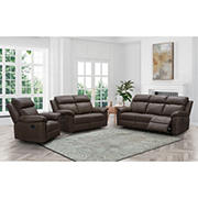 Abbyson Living Cambridge 3 Piece Top Grain Leather Reclining Set with White Glove Delivery