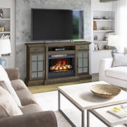 """Twin Star Home Merrifield TV Stand for TVs up to 70"""" with ClassicFlame Electric Fireplace"""