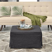 Folding Woven Textured Linen Ottoman Sleeper Bed - Charcoal Black & Tan
