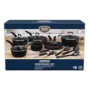 Berkley Jensen 18 Piece Non-Stick Cookware Set - Black