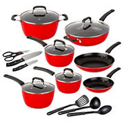 Berkley Jensen 18 Piece Non-Stick Cookware Set - Red