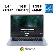 Acer Chromebook 314 CB314-1H-C66Z Laptop, Intel Celeron N4000 Dual-Core Processor, 4GB Memory, 32GB eMMC