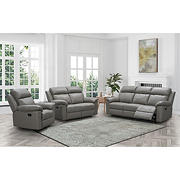 Abbyson Living Braylen 3-Piece Reclining Leather Set with White Glove Delivery - Gray