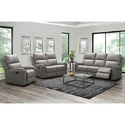Abbyson Living Grover Top Grain Leather Reclining Set with White Glove Delivery - Gray