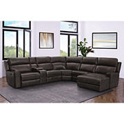 Abbyson Living Brockton Top Grain Leather Reclining Sectional with White Glove Delivery - Brown