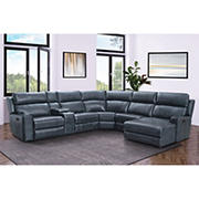 Abbyson Living Brockton Top Grain Leather Reclining Sectional with White Glove Delivery - Navy Blue