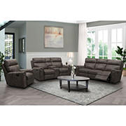 Abbyson Living Layden Fabric Reclining Set with White Glove Delivery - Brown