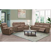 Abbyson Living Layden Fabric Reclining Set with White Glove Delivery - Camel