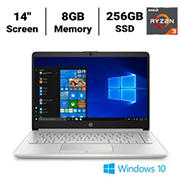 HP Laptop 14-dk1074nr Laptop, AMD Ryzen 3 3250U(2a) Processor, 8GB Memory, 256GB SSD