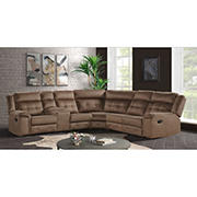 Elements El Paso 3-Pc. Faux Leather Sectional with White Glove Delivery - Brown