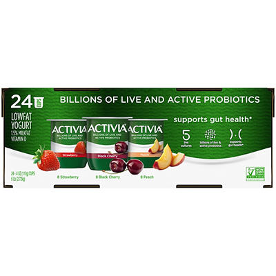 Dannon Activia Lowfat Strawberry, Blueberry & Peach Yogurt Variety Pac