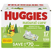 Huggies Unscented Natural Care Sensitive Baby Wipes, 1,088 ct.