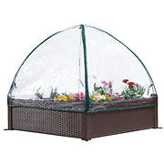 "Osgrow Easy-To-Assemble 39"" Square Wicker Raised Garden Bed with Clear Zip-Up Canopy Cover"