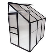 Osgrow 4' x 6' Lean-To-Wall Walk-In Greenhouse with Sliding Door, Adjustable Roof Vent, and Heavy-Duty Aluminum Frame
