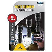Police Security 600-Lumen Flashlights, 3 pk.