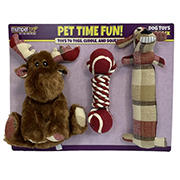 Multipet Dog Toys- Plaid Moose/Rope with Tennis Ball/Plaid Loofa, 3 pk.