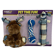 Multipet Dog Toys - Plaid Moose/Rope with Tennis Balls/Plaid Loofa, 3 pk.