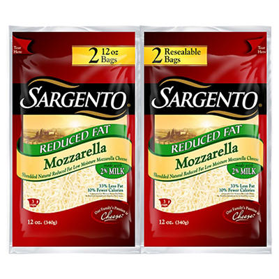 Sargento Reduced Fat Mozzarella Shredded Cheese, 2 pk./12 oz.