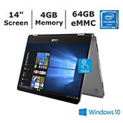 "ASUS VivoBook Flip 14 J401MA-DB02 Laptop, 14"" FHD Touchscreen, Intel Celeron N4020 Processor, 4GB Memory, 64GB eMMC"