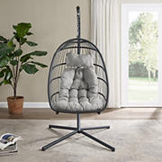 W. Trends Swinging Wicker Outdoor Egg Chair with Tufted Cushion - Gray