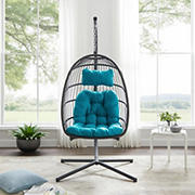 W. Trends Swinging Wicker Outdoor Egg Chair with Tufted Cushion - Teal