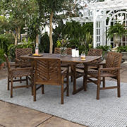 W. Trends 7-Pc. Acacia Wood Extendable Outdoor Dining Set - Dark Brown