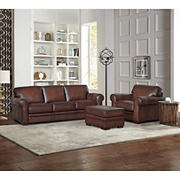 Hydeline Furniture Brookfield Collection 3-Pc. Leather Living Room Set