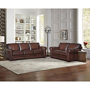 Hydline Furniture Brookfield Collection 2-Pc. Leather Couch and Love Seat Living Room Set