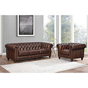 Hydeline Furniture Alton Bay Collection 2-Pc. Leather Sofa and Chair Living Room Set