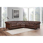 Hydeline Furniture Alton Bay Collection Leather Sectional, 3 pieces
