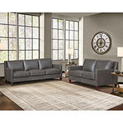 Hydeline Furniture Concord Collection 2-Pc. Leather Sofa and Loveseat Set - Gray