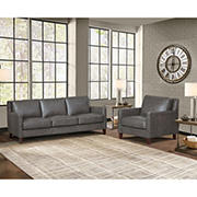 Hydeline Furniture Concord Collection 2-Pc. Leather Sofa and Chair Set - Gray