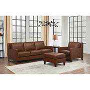 Hydeline Furniture Concord Collection 3-Pc. Leather Living Room Set - Brown