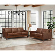 Hydline Furniture Concord Collection 2-Pc. Leather Sofa and Love Seat Set - Brown