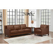 Hydeline Furniture Concord Collection 2-Pc. Leather Sofa and Chair Set - Brown