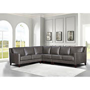 Hydeline Furniture Concord Collection Leather Sectional, 4 pieces - Gray