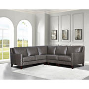 Hydeline Furniture Concord Collection Leather Sectional, 3 pieces - Gray