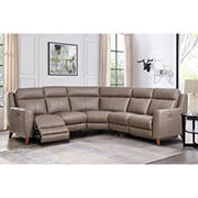 Hydeline Furniture Crescent Bay Collection Leather Sectional, 3 pieces